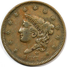 1837 N-17 R-4 E-MDS Matron or Coronet Head Large Cent Coin 1c