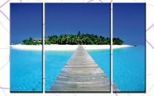 DREAM ISLAND 3BILDER LEINWAND 120x80  STRAND MEER INSEL