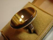 schöner 70iger Jahre Ring mit Tigerauge, 925iger Silber, Gr 56