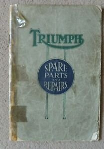 Original spare parts list for 1926 Triumph motorcycles