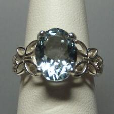 Anelli di lusso ovale in argento sterling con pietra principale acquamarina