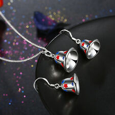 Christmas Bell Women Silver Xmas Pendant Necklace Earrings Set Best Xmas Gift