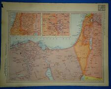 Vintage Circa 1952 Israel - Egypt Map Old Original Atlas Map - Free S&h