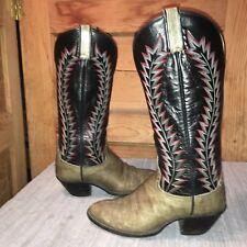 VNTG HONDO 6.5D / 7.5M leather western cowboy boots Buckaroo, Tall, taupe/black