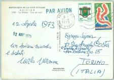 67336 - COTE D'IVOIRE - Postal History: POSTCARD to ITALY 1973 Elephants