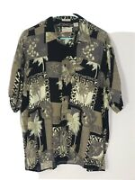 Natural Issue Silky Touch Rayon Hawaiian Camp Button Down Shirt Large Black Tan