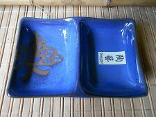 NWT JAPANESE COBALT BLUE 2-SECTIONED CERAMIC SAUCE BOWLS ENGRAVED BUTTERFLY