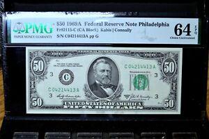 1969-A $50 FEDERAL RESERVE NOTE ✪ PMG CU-64-EPQ ✪ FR 2115-C UNC 413 ◢TRUSTED◣
