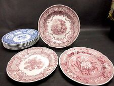 """Set of 3 Spode Archive Collection Victorian Series 10 1/2"""" Dinner Plates Red"""