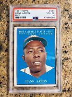 HANK AARON MVP Card 1961 Topps Baseball #484(PSA 4)Clean card of a Legend HOF'er