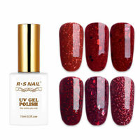 RS NAIL UV LED Gel Nail Polish Soak Off Colour Gel Sequined Glitter Red 15ml