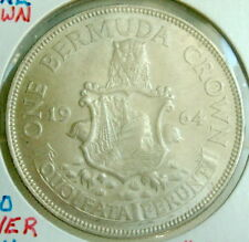1964 BERMUDA ONE CROWN SILVER COIN KM#14 BEAUTIFUL COIN