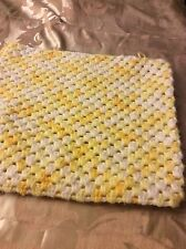 "New 14"" X 13"" Crochetted Pillow Sham White And Yellow"