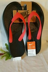 **NEW** Nike Solay Thong Flip Flops Sandals Black/Red Men's Size 11  882690-601