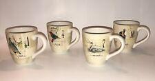 Set of 4 Williams Sonoma Mark Lacaze 12 Days of Christmas Mugs w/ Crazing