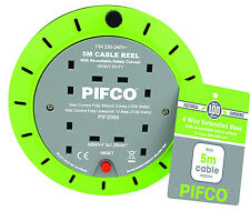 PIFCO 5M 4 Way 13 AMP Electric Extension Cable Reel Mains Plug & Socket Lead UK