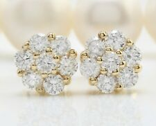 .90 Carat Natural Diamonds in 14K Solid Yellow Gold Stud Earrings