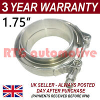 "V-BAND CLAMP + FLANGES COMPLETE STAINLESS STEEL EXHAUST TURBO HOSE 1.75"" 45mm"