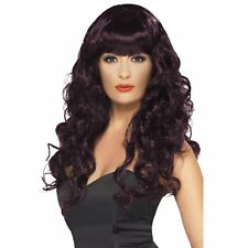 Plum Siren Wig Long Curly With Fringe Adult Womens Smiffys Fancy Dress Costume