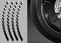 """4 X STICKERS DAMIERS ROUE JANTE 17"""" RACING MOTO GP SUPERBIKE AUTOCOLLANT RA075"""