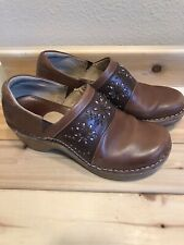 Ariat Brown Leather Clogs Slip On Embelished Shoes Mules Womens Size 8 B