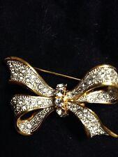 Swarovski Ribbon Bow Pin Brooch Signed