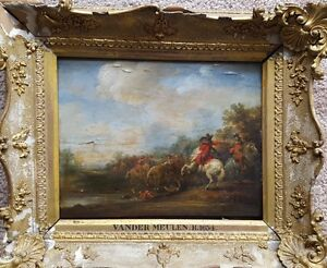 Flemish Old Master Painting 1600's Horses Cavalry