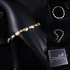 Armband, Bracelet *Herzen* Armreif, Gelbgold pl, Swarovski Elements, +Etui