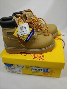 New Smart Fit Youth Work Boots Size 10.5 Tan Waterproof Lace Up New In Box