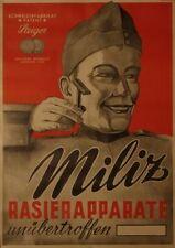 Original Plakat - Rasierapparate Miliz - Schweizerfabrikat - Patent