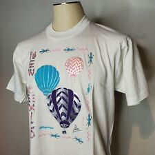 Vintage 90s New Mexico White T Shirt L Hot Air Balloon Single Stitch Screen Star