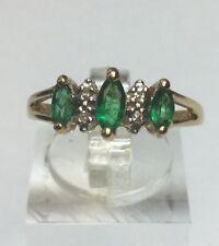 Beautiful 14Kt Yellow Gold Emerald And Diamond Ring