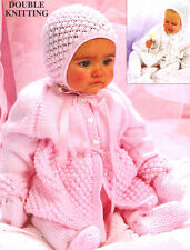 "Popcorn Baby Set  Matinee Coat- Pull Ups - Bonnet - Mitts 18 - 20"" DK To Knit"