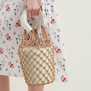 Womens Fish Net Bucket Bag Clutch Bags Weave Straw Handbags Beach Flowerpot Bags