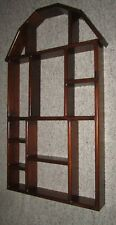"Vintage Wood Curio Wall Hung Open Shelf Display Solid Pine 39"" High"