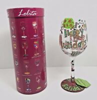 Lolita Happy Holidays Hand Painted 15 oz Love My Wine Glass Recipe Bottom EUC