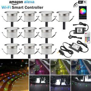 10pcs 31mm 12V 0.6W WIFI Control Garden Yard Path Stair LED RGB Deck Lights IP67