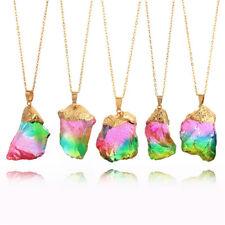 Gold Plated Natural Crystal Stone Necklace Quartz Pendant Irregular Necklace GT