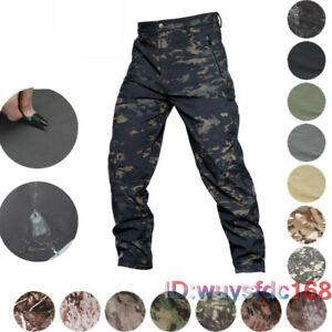 Tactical Mens Outdoor Soft Shell Pants Waterproof Fleece Combat Trouser Casual