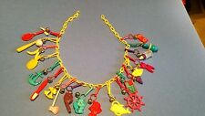 Vintage 1980's Plastic Bell Clip Charm Necklace with 20 Charms