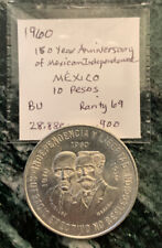 1960 Mexico 10 Peso 150th Ann. Of Ind. BU/ 29 gr .900 Silver Crown & No Reserve!