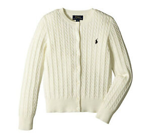 Polo Ralph Lauren Little Girls Cotton Knit Cable Cardigan Sweater Spring