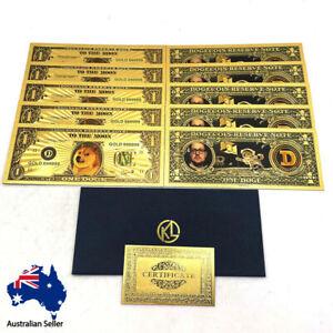 10 pcs Beautiful WOW Gold Dogecoin Gold Banknotes Dog Printing D Souvenir Cards