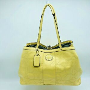 Coach C1276-F19215 Yellow Patent Leather Logo Kisslock Carryall Purse Bag