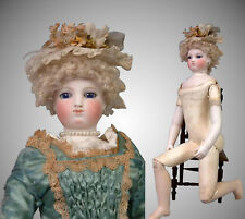 "17"" Smiling Barrois Enfantine Poupee with Early Swivel Neck on Wooden Body"