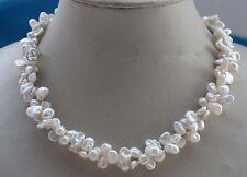2 Stränge weißes Keshi reborn Perle Halskette