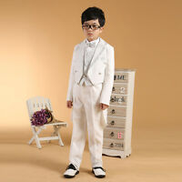 Boys Black Tails Suits with Gold and Silver Wedding Tuxedo for Kids Formal suit