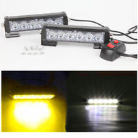 2pcs White Amber 6LED Car Dash Strobe Lights Flash Emergency Warning Safety Lamp