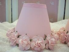 SHABBY SMALL CLIP ON LAMP SHADES BABY PINK ROSES ON BABY PINK SHADES