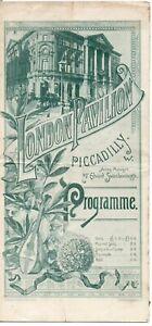 Original 1891 London Pavilion,Piccadilly entertainment theatre programme